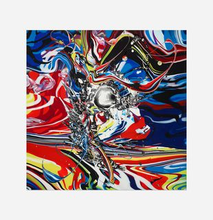 Abstract print of swirling bold colours