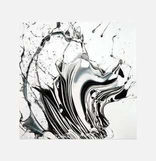 Abstract print of swirling monochrome colours