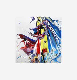 Abstract print of swirling bold colours against a white background