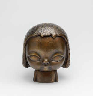Bronze sculpture of person with tears, KIRA (Burnished Gold) by Roby Dwi Antono