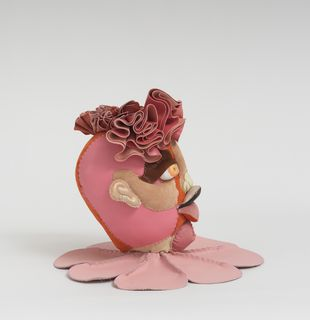 Soft sculpture of leather and cloth, Neroli by Tau Lewis