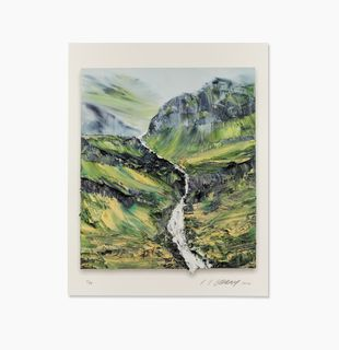 Green mountain landscape with river, Nevertheless #16 by Conrad Jon Godly
