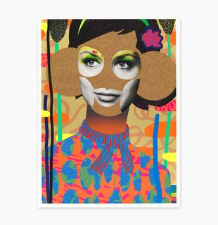 a print of a woman's torso with gold glitter areas and a patterned background by Paul