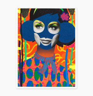 a print of a woman's torso with glitter areas and a patterned background by Paul