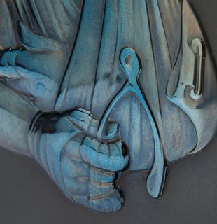 Wooden framed steel relief with bandaged slingshot, Slingshot (Steel Relief) by James Jean - detail shot