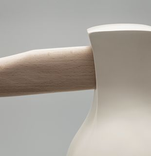 Human head with handle sticking out like axe, Fight for a Dream by Johnson Tsang - detail shot