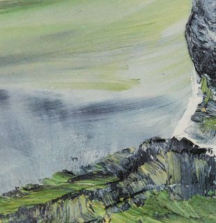 Green mountain landscape with river, Nevertheless #16 by Conrad Jon Godly - detail shot