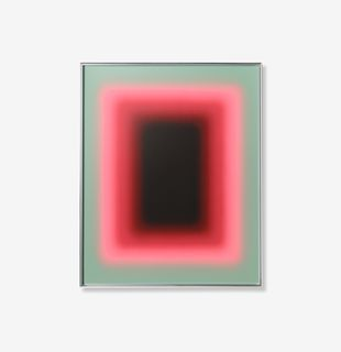 Dark shape gradient fading into bright pink and mint green, Schein Blossom by Jonny Niesche