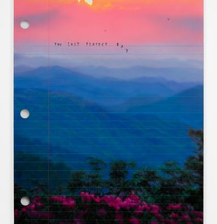 Print that look like notebook page with scenery background and lettering, The Last Perfect Day by Friedrich Kunath