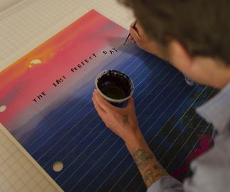 Print that look like notebook page with scenery background and lettering, The Last Perfect Day by Friedrich Kunath - bts