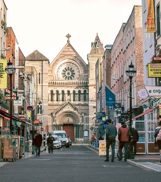 looking down anne street at saint anns cathedral in dublin