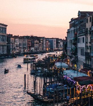the grand canal of venice at evening