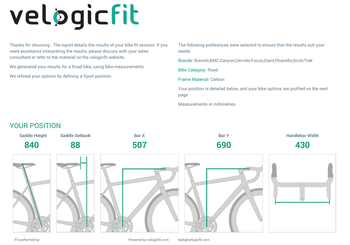 Set-up recommendations tailored to bike geometry.