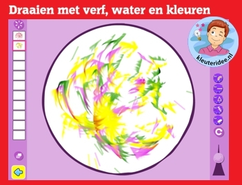 Ontdek wat verf en water doen in een draaiende beweging met kleuters op digibord of computer op kleuteridee.nl, Kindergarten color game for IBW or computer