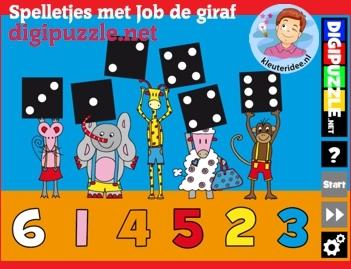 Spelletjes met Jop de giraf, kleuters op digibord of computer op kleuteridee.nl.