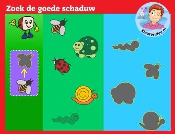 Zoek de goede schaduw met kleuters op digibord of computer op kleuteridee.nl - Kindergarten educative shadow game for IBW or computer