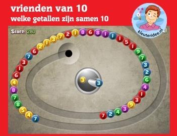 Vrienden van 10 op kleuteridee.nl, voor computer, digibord of tablet - Kindergarten number bonds 10 game for IBW or computer