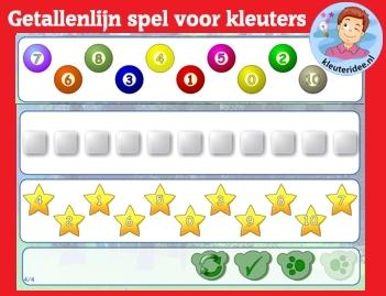 Getallenlijnen leggen met kleuters met kleuters op digibord of computer op kleuteridee.nl, Kindergarten numberline for IWB