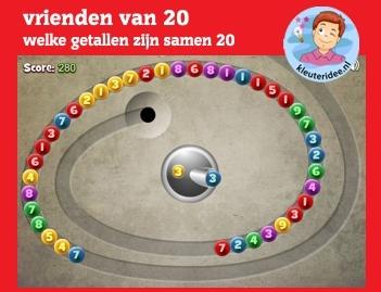 Vrienden van 20 op kleuteridee.nl, voor computer, digibord of tablet - Kindergarten number bonds 20 game for IBW or computer