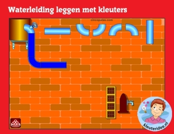 Waterleiding leggen met kleuters op digibord of computer op kleuteridee.nl - Kindergarten educative water construction game for IBW or computer