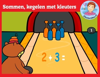 Sommen, kegelen met kleuters op digibord of computer op kleuteridee.nl, Kindergarten math game for IWB