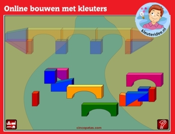 Online bouwen met kleuters op digibord of computer op kleuteridee.nl - Kindergarten educative construction game for IBW or computer