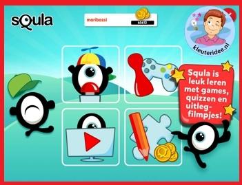 Squla met kleuters op digibord of computer op kleuteridee.nl, Kindergarten games for IBW or computer