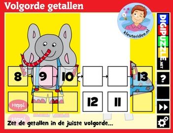 Volgorde getallen met kleuters op digibord of computer op kleuteridee.nl, Kindergarten number game for IBW or computer