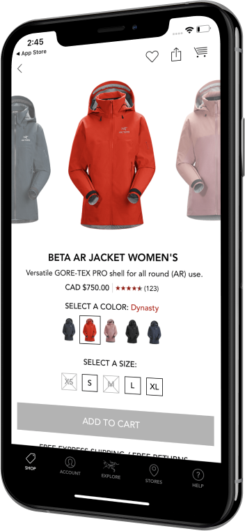 Phone showing a product display page for a jacket