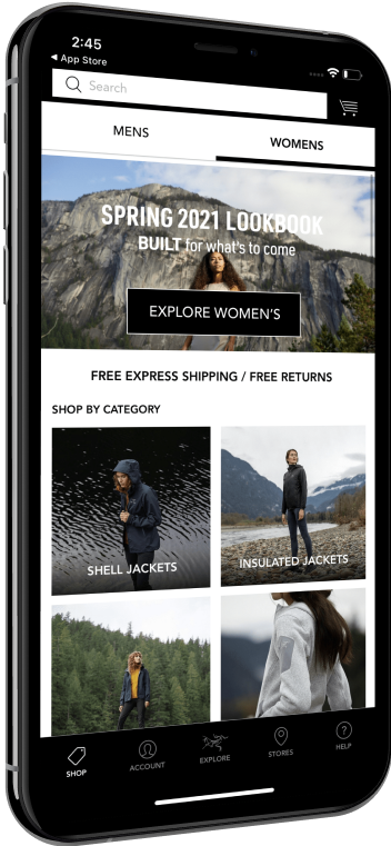 Phone showing the women's products shopping screen on the Arcteryx app