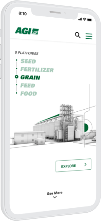 A phone showing the Grain page on the AGI website