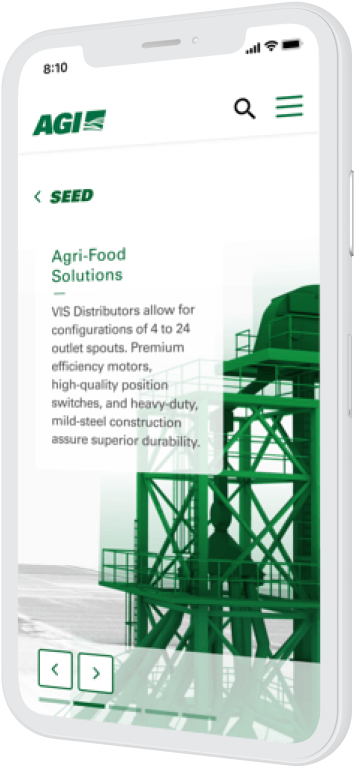 A phone showing the seed page on the AGI website