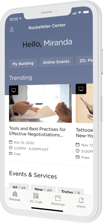 Phone showing the Tishman Speyer Zo App welcome screen