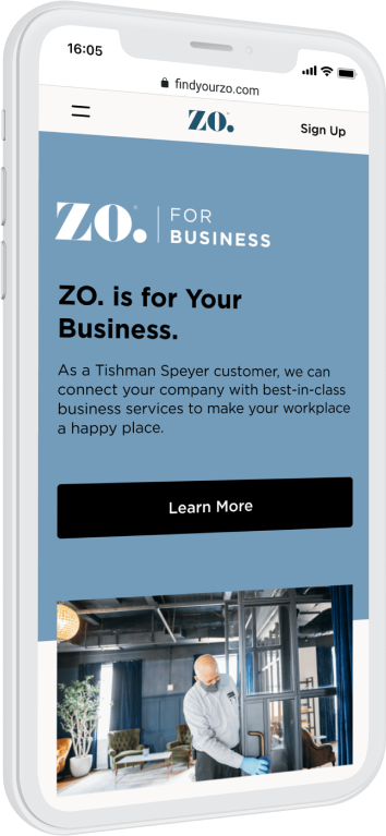 Phone showing the Tishman Speyer Zo App Learn More screen