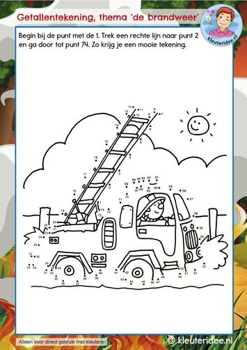 Getallentekening thema de brandweer, kindergarten dot to dot firefighters theme