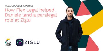Daniele Ponceta, a paralegal with cryptocurrency platform Ziglu, stands before the Flex Legal logo