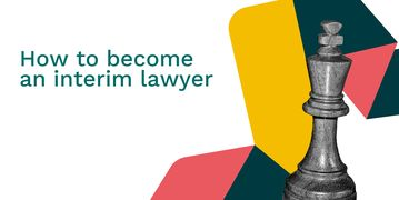 How to become an interim lawyer featuring a large grey chess piece