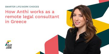 Blog Banner with Flex Ribbon and Anthi, a lawyer