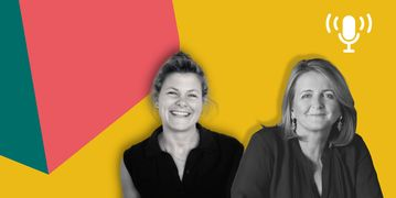 Sarah Goulbourne of gunnercooke and Mary Bonsor of Flex Legal, smile in black and white as the Humans of Law branding surrounds them