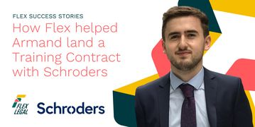 Armand Derri, a trainee solicitor, stands before the Flex logo, proud of his training contract