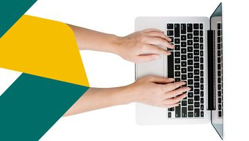 A pair of hands uses a laptop in a birds eye view. The Flex Legal ribbon is also visible