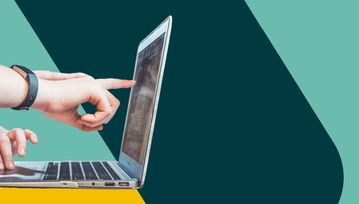 Hands point and prod at a laptop screen. Elsewhere, the Flex Legal branding encroaches upon the frame.