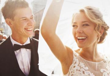 Hochzeitspaar mit schönen Zähnen