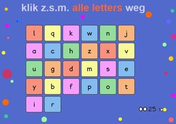 Klik zo snel mogelijk alle letters weg, letters aanbieden aan kleuters, kleuteridee