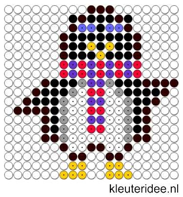 Kralenplank pinguin, kleuteridee.nl , thema Noordpool & Zuidpool , free printable Beads patterns preschool.