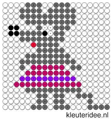Kralenplank muis, kleuteridee.nl.