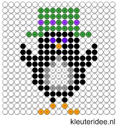 Kralenplank pinguin 3, kleuteridee.nl , thema Noordpool & Zuidpool , free printable Beads patterns preschool.