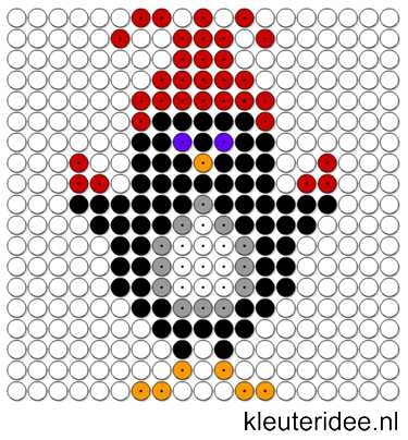 Kralenplank pinguin 4, kleuteridee.nl , thema Noordpool & Zuidpool , free printable Beads patterns preschool.