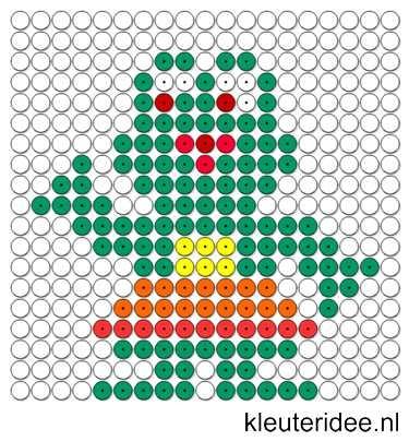 Kralenplank kikker, kleuteridee.nl.