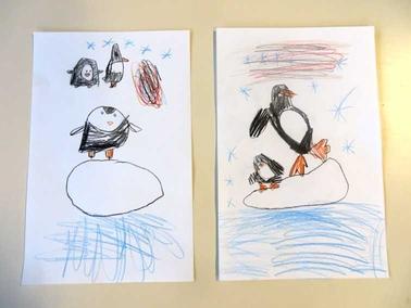 pinguïns tekenen met kleuters vanaf een stap voor stap voorbeeld 1 , kleuteridee.nl